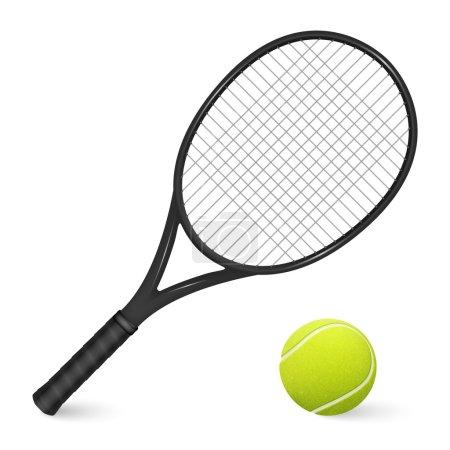 Illustration pour Raquette de tennis noire et balle isolée sur fond blanc. Illustration vectorielle EPS10 . - image libre de droit