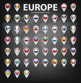 White map markers with flags - Europe Original colors