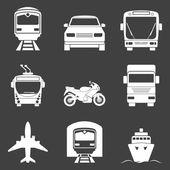 Simple monochromatic transport icons set