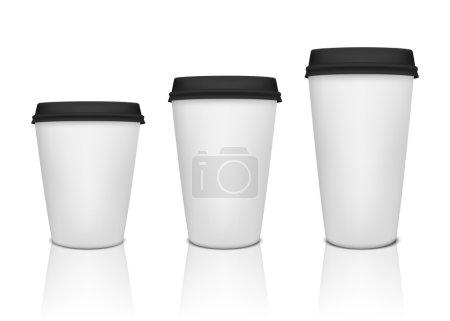 Illustration pour Tasse à café en papier réaliste avec réflexion. Illustration vectorielle EPS10 - image libre de droit