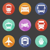Simple flat transport icons set with long shadows