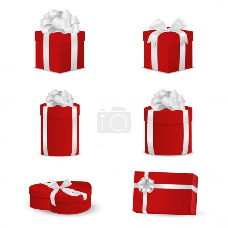 Illustration for Set of red gift boxes with white bows and ribbons. Vector EPS10 illustration - Royalty Free Image