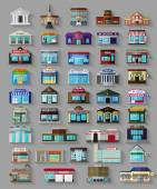 Set of the flat city buildings and shops