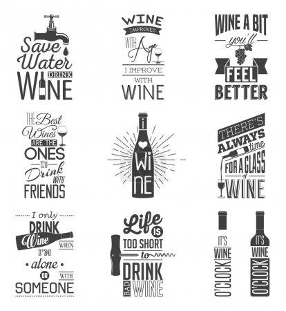 Illustration pour Ensemble de citations typographiques de vin vintage. Illustration vectorielle EPS8 - image libre de droit
