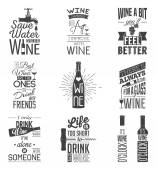Set of vintage wine typographic quotes Grunge effect can be edited or removed