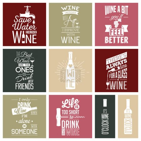 Illustration for Set of vintage wine typographic quotes. Vector EPS8 illustration - Royalty Free Image