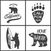 Set of vintage monochrome california emblems and design elements Typography illustrations California Republic bear Vector EPS8 illustration