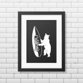 California bear holding a surfboard -  typographical Background in realistic square black frame on the brick wall background Vector EPS10 illustration