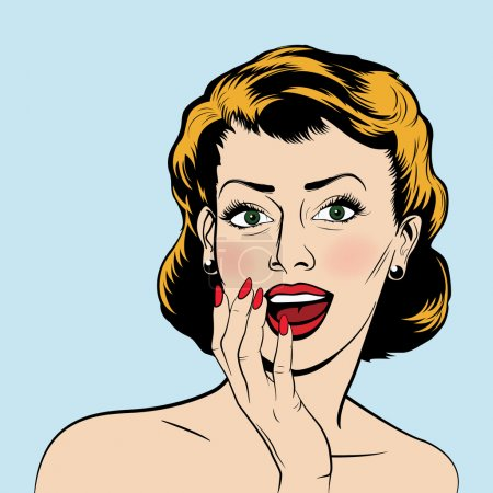 Illustration for Beautiful surprised woman in the pop art comics style. Vector EPS10 illustration - Royalty Free Image