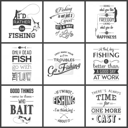 Set of vintage fishing typographic quotes