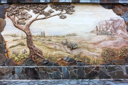 Vintage old fresco decoration on the wall, rural landscape. Evpa