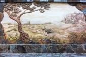 """Постер, картина, фотообои """"старинное старое художественное оформление фрески на стене, сельском пейзаже. evpa"""""""