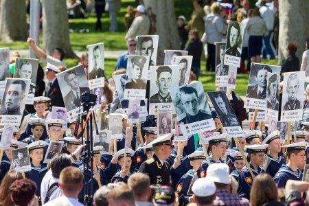SEVASTOPOL, CRIMEA - MAY 9, 2015: The Immortal regiment marches.