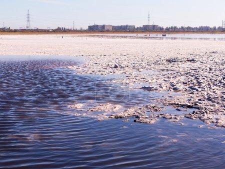Petrified salt made dry red estuary. Kuyalnik in Odessa, Ukraine