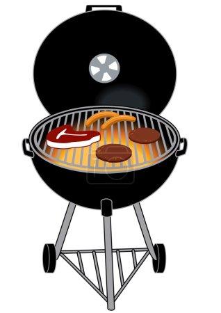 Illustration for BBQ GRILL WITH STEAK HOTDOG HAMBURGERS - Royalty Free Image