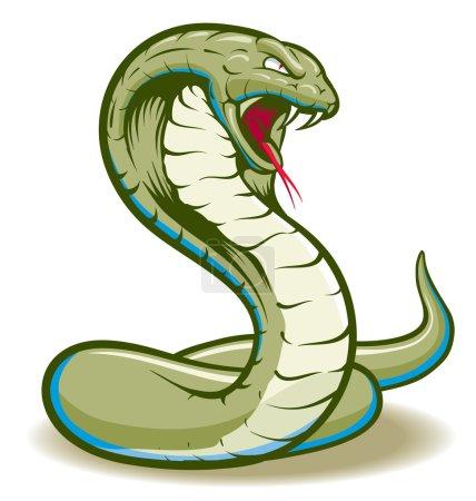 Illustration pour Cobra Serpent bouclé et prêt à frapper montrant crocs et langue - image libre de droit