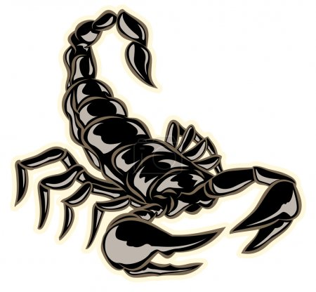 Illustration for Black hand drawn scorpion with pinchers ready to sting - Royalty Free Image