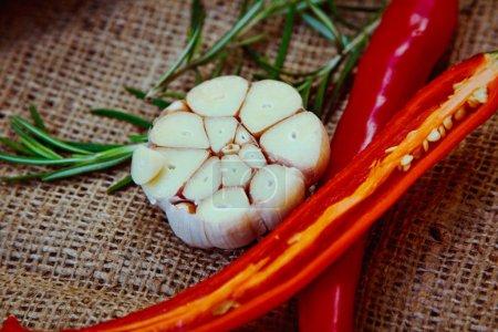 fragrant spices on burlap