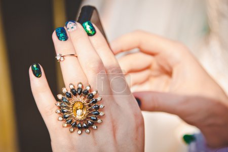 beautiful big engagement ring on woman's hand