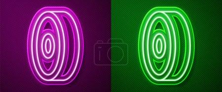 Illustration pour Lumineux néon ligne Roulement à billes Skateboard icône isolée sur fond violet et vert. Vecteur. - image libre de droit