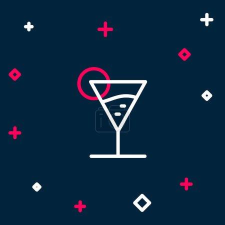 Illustration pour Ligne Martini icône en verre isolé sur fond bleu. Icône de cocktail. icône de verre de vin. Concept de contour coloré. Vecteur. - image libre de droit