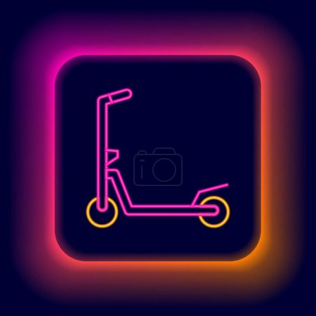 Illustration for Glowing neon line Roller scooter for children icon isolated on black background. Kick scooter or balance bike. Colorful outline concept. Vector. - Royalty Free Image