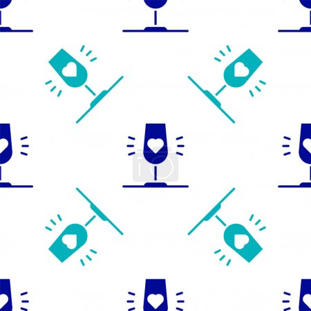 Illustration pour Blue Wine glass icon isolated seamless pattern on white background. Wineglass sign. Favorite wine. Vector. - image libre de droit