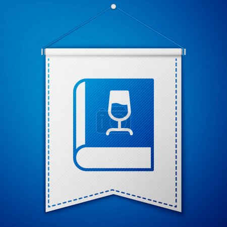 Illustration pour Blue Book about wine icon isolated on blue background. Wine glass icon. Wineglass sign. White pennant template. Vector. - image libre de droit