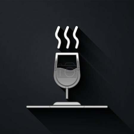 Illustration pour Silver Wine tasting, degustation icon isolated on black background. Sommelier. Smells of wine. Long shadow style. Vector. - image libre de droit