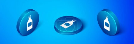 Illustration pour Isométrique icône bouteille de bière isolé sur fond bleu. Bouton bleu. Vecteur. - image libre de droit