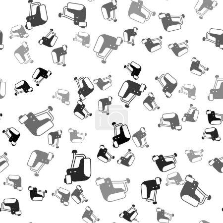 Illustration pour Black Skateboard helmet icon isolated seamless pattern on white background. Extreme sport. Sport equipment. Vector. - image libre de droit