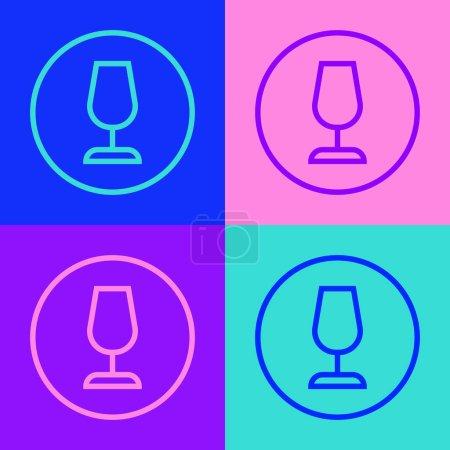 Illustration pour Pop art line Fragile broken glass symbol for delivery boxes icon isolated on color background. Vector. - image libre de droit