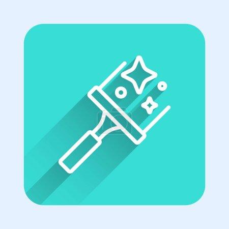 Illustration pour Ligne blanche Service de nettoyage avec de nettoyant en caoutchouc pour icône de fenêtres isolées avec fond d'ombre longue. Raclette, grattoir, essuie-glace. Bouton carré vert. Vecteur. - image libre de droit