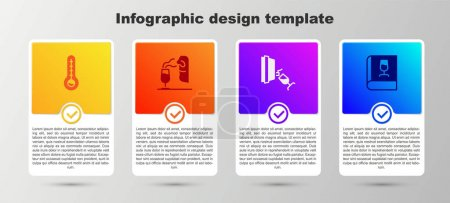 Illustration pour Set Meteorology thermometer, Sommelier, Wine tasting, degustation and Book about wine. Business infographic template. Vector. - image libre de droit