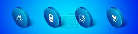 Illustration for Set Isometric Vintage bicycle, Magic ball, Swing plane and Weight icon. Vector. - Royalty Free Image