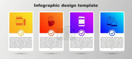 Illustration pour Set Wooden barrel, Glass of beer, Metal keg and Beer brewing process. Business infographic template. Vector. - image libre de droit