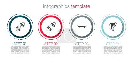 Illustration for Set Broken skateboard, Skateboard, and helmet. Business infographic template. Vector. - Royalty Free Image