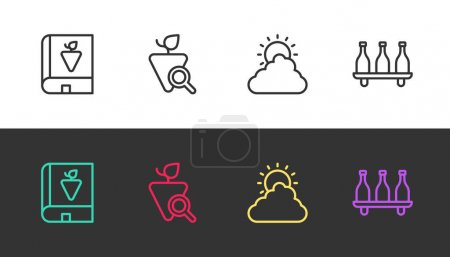 Illustration pour Set line Book about grapes, Grapes, Sun and cloud weather and Bottle of wine on black and white. Vector. - image libre de droit