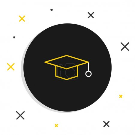 Illustration for Line Graduation cap icon isolated on white background. Graduation hat with tassel icon. Colorful outline concept. Vector. - Royalty Free Image