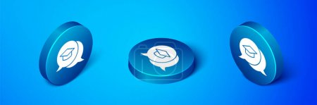Illustration for Isometric Graduation cap in speech bubble icon isolated on blue background. Graduation hat with tassel icon. Blue circle button. Vector. - Royalty Free Image