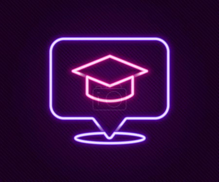 Illustration for Glowing neon line Graduation cap in speech bubble icon isolated on black background. Graduation hat with tassel icon. Colorful outline concept. Vector - Royalty Free Image