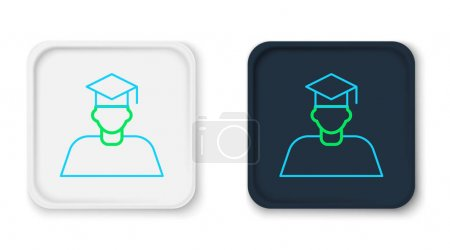Illustration for Line Graduate and graduation cap icon isolated on white background. Colorful outline concept. Vector. - Royalty Free Image