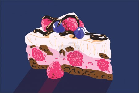 Piece of cake with cream and fruit