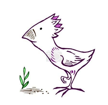 Amusing birdie, pecking grain