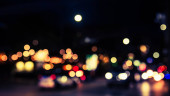 Abstract blur image of  Road in Night time with bokeh for background usage .