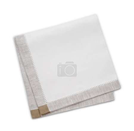 Photo for Clean folded kitchen towel isolated on white - Royalty Free Image