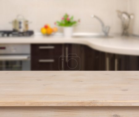 Photo for Breakfast table on kitchen interior background - Royalty Free Image