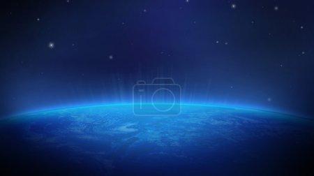 Photo pour Terre vue de l'espace couleur bleu sur un fond de l'espace avec des étoiles et un flash lumineux à l'horizon de la planète - image libre de droit