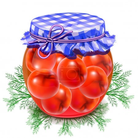 Illustration for Canned tomatoes. Tomatoes in a glass jar. Twist red tomatoes. - Royalty Free Image