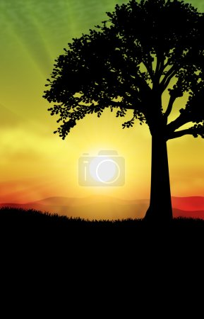 Illustration for Landscapes fantastic foreground tree with gorgeous foliage on a background of blue sky with full moon - Royalty Free Image